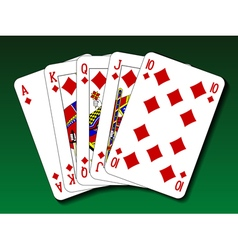 Poker hand - Royal flush diamond vector image