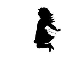 silhouette happy girl jump up vector image vector image