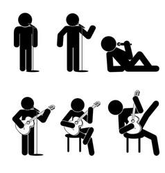 stick man sing icons set vector image