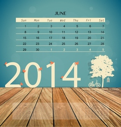 2014 calendar monthly calendar template for June vector image vector image