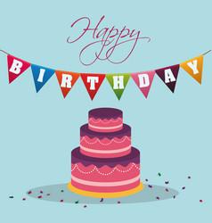 happy birthday cake pennant decoration confetti vector image