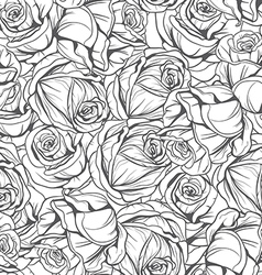 monochrome pattern flowers roses vector image vector image
