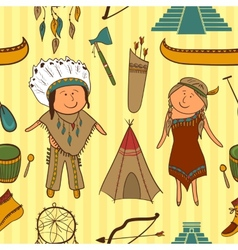 Native American Indian culture seamless pattern vector image