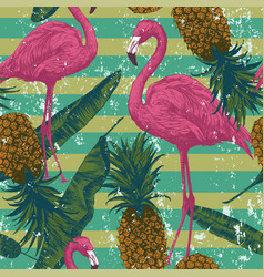 seamless pattern with flamingo pineapples banana vector image