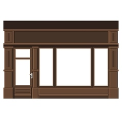Shopfront with White Blank Windows Wood Store vector image vector image