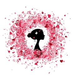 Valentine frame design with woman silhouette vector image vector image