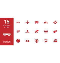 15 motion icons vector image