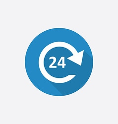 24 hours service Flat Blue Simple Icon with long vector image