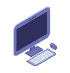 3d desktop computer screen with keyboard and mouse vector