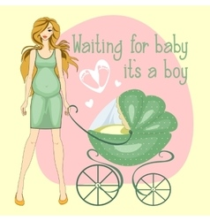 a pregnant girl waiting for boy vector image