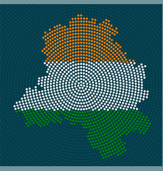 abstract map delhi radial dots with flag india vector image