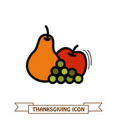 apple grapes and pear icon harvest thanksgiving vector image