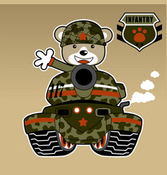 Army bear on armored vehicle cartoon vector