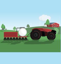 Autonomous tractor on a smart farm vector