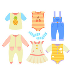 Baby clothes for boys and girls of natural fabric vector