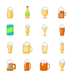 Beer glassware flat icons vector image