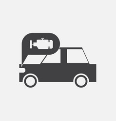 Black icon on white background car and engine vector