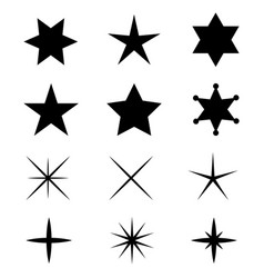 black stars icons vector image