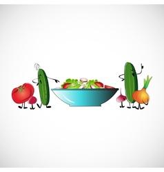 Board of vegetables for salads design vector