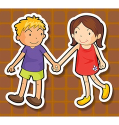 Boy and girl holding hands vector