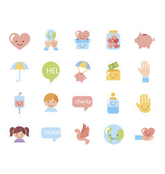 Bundle charity campaign icons vector