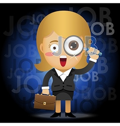 business woman with magnifying glass searching job vector image