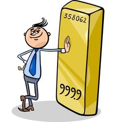 businessman with gold bar cartoon vector image