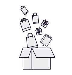 cardboard box with gifts falling vector image