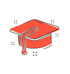 Cartoon education hat icon in comic style vector
