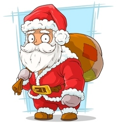 Cartoon funny santa claus with beard vector image