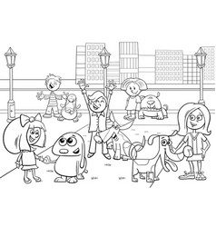 Cartoon kids with dogs coloring page vector