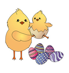 Chicks with easter egg vector