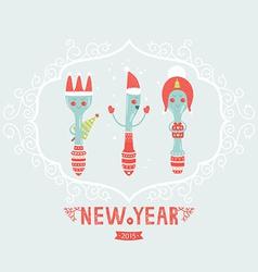 christmas greeting card with spoon plug knife vector image