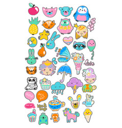 Collection of children doodles vector