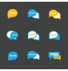 Colorful Speech bubble icons on black background vector image