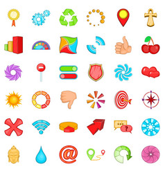 computer graphic icons set cartoon style vector image
