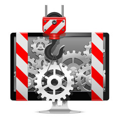 Computer Repair with Crane vector