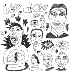 crazy people - doodles set vector image