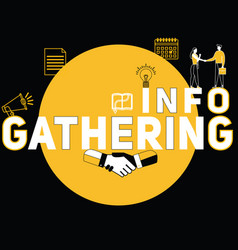 Creative word concept gathering info and people vector