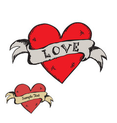 cute hand drawn vintage grunge heart with ribbon vector image