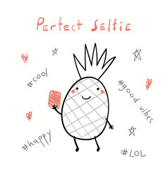 Cute pineapple with a smart phone vector