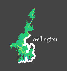 Detailed flat map of wellington new zealand vector
