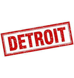 Detroit red square grunge stamp on white vector