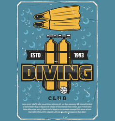Diving sport club ballon and flippers vector