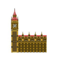 Doodle london clock tower architecture design vector