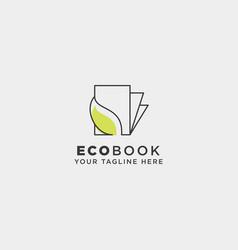 Eco book nature learn line logo template icon vector