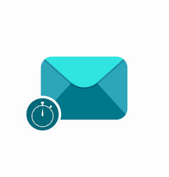 email envelope sent stopwatch timer icon vector image