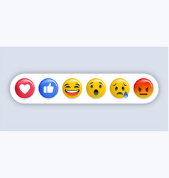 emoji reactions - set different emoticons vector image