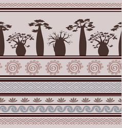 exotic african seamless pattern with babobabs and vector image