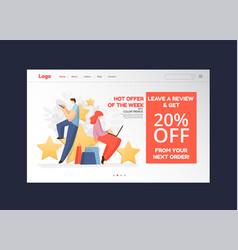 feedback survey flat landing page concept vector image
